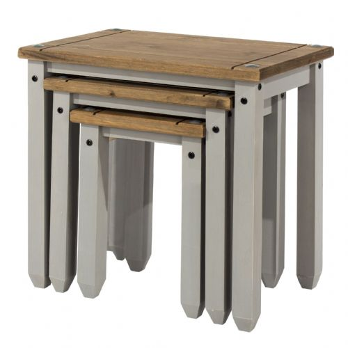 Premium Corona Grey Wash Nest Of Tables